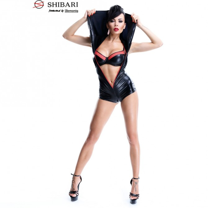 BABYDOLL AND STRING CR-3020 BLACK AND RED